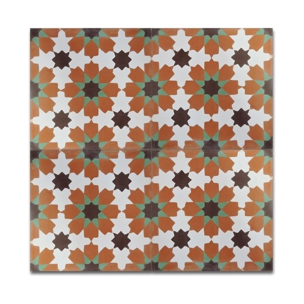 Pack of 12 Ahfir Orange and Green Stars Wall Tiles (Morocco)