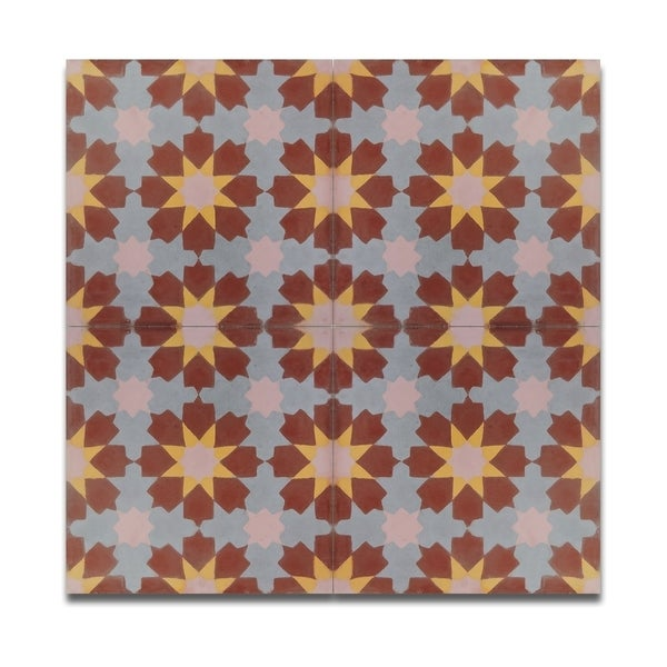 Pack of 12 Ahfir Brown Yellow Stars Wall Tiles (Morocco)