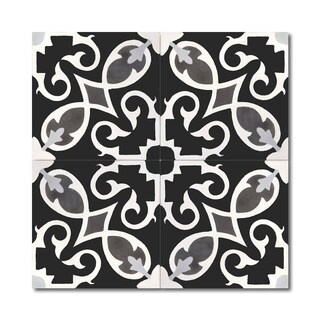 Pack of 12 Agadir Royal Black and White Wall Tiles (Morocco)