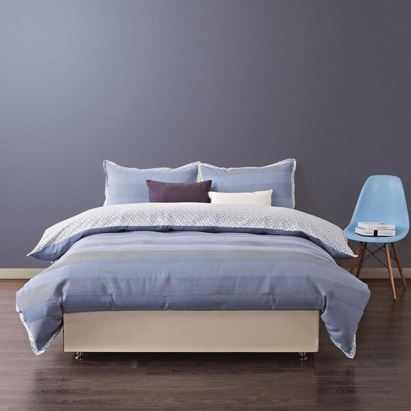 EverRouge Vasalis 300 Thread Count Organic Cotton 3-piece Queen Duvet Set in Blue (As Is Item)
