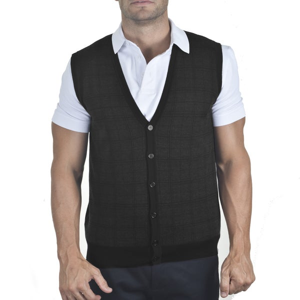 Men's Merino Jacquard Sleeveless Cardigan