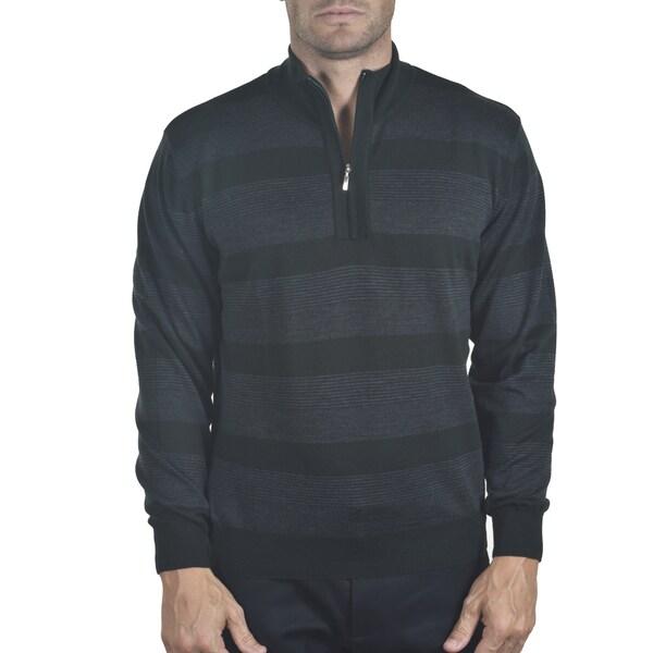 Men's Merino Quarter-zip Striped Sweater