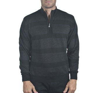 Men's Merino Quarter-zip Striped Sweater