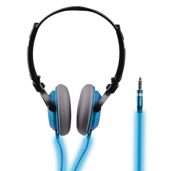 Light-up Blue Folding Over-ear Headphones