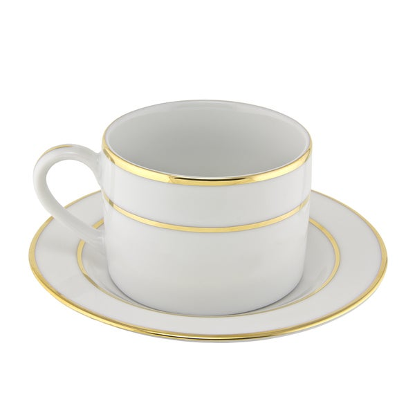10 Strawberry Street Gold Double Line Can Cup/ Saucer (Set of 6) 16482990