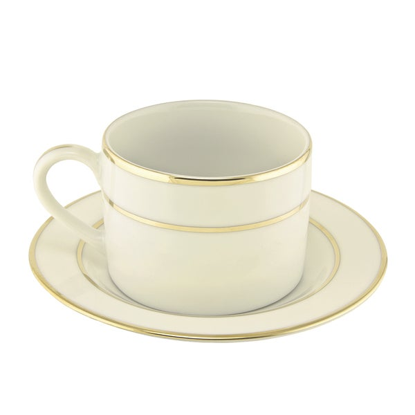 10 Strawberry Street Cream Double Gold Can Cup/ Saucer (Set of 6) 16483002
