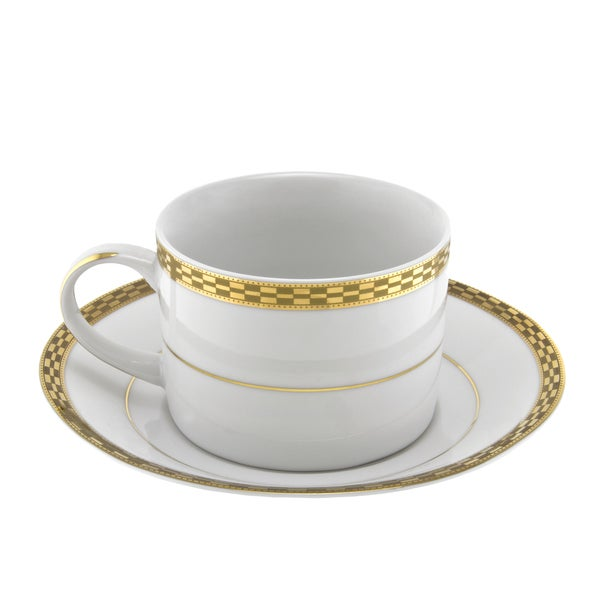 10 Strawberry Street Athens Gold Can Cup/ Saucer (Set of 6) 16483027