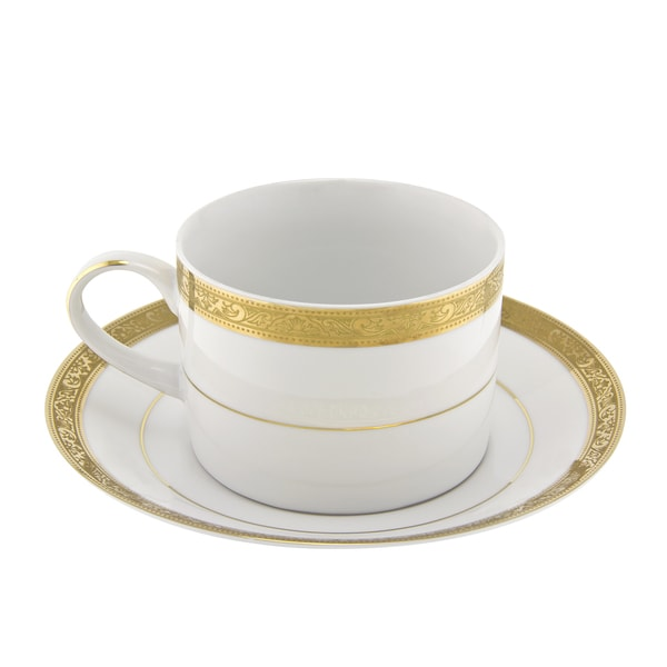 10 Strawberry Street Paradise Gold Can Cup/ Saucer (Set of 6) 16483058