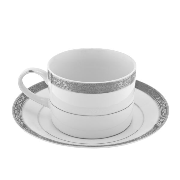 Paradise Platinum Can Cup/ Saucer (Set of 6) 16483059