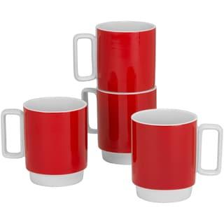 Felix 12-ounce Stackable Red Mug (Set of 4)