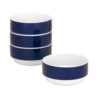 Felix 4.5-inch Stackable Blue Bowl (Set of 4)