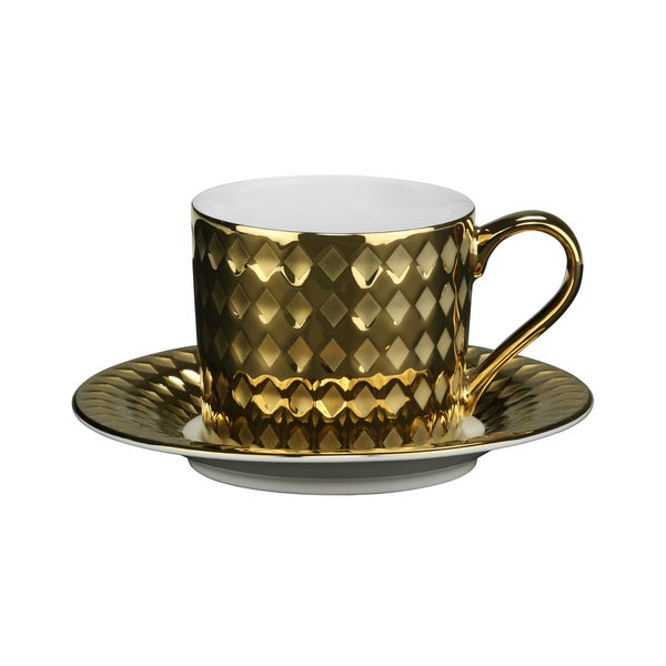 10 Strawberry Street Cairo 7.5-ounce Cup/ Saucer Gold (Set of 6) 16483081