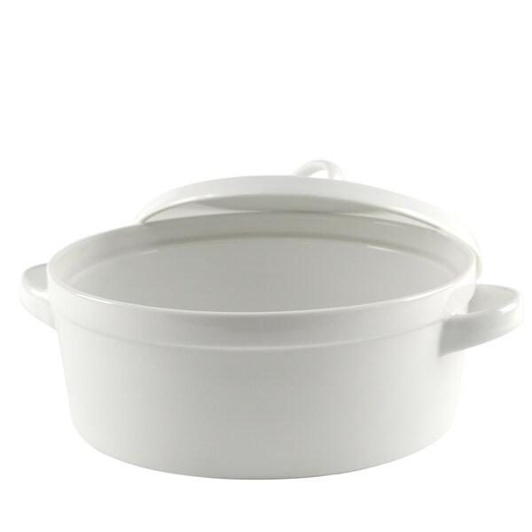Delano White Round Bakeware With Lid 12-inch