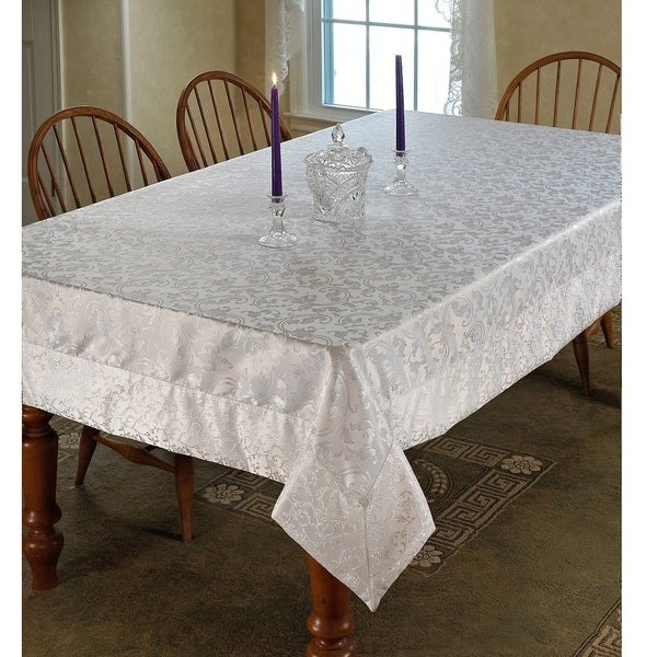 Violet Linen Princess Damask Vintage Tablecloth