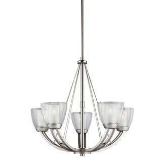 Contemporary 5-light Brushed Nickel Chandelier