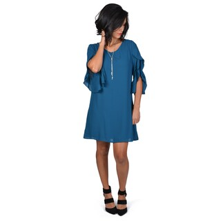 Timeless Comfort by Journee Women's Ruffled Sleeve Shift Dress