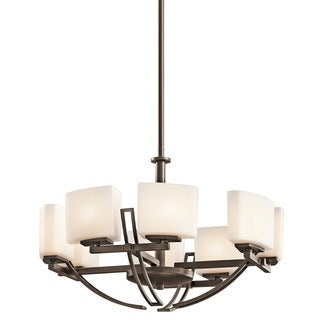 Contemporary 8-light Mission Bronze Chandelier