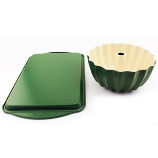 Cooknco Green Cookie Sheet and Bundt Pan Set