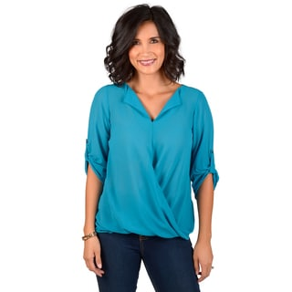 Journee Collection Women's Solid V-neck Blouse
