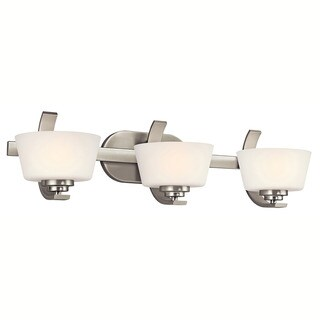 Contemporary 3-light Brushed Nickel Bath/Vanity Light