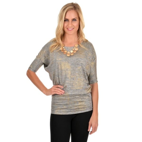 Journee Collection Women's Dolman Sleeve Metallic Tee