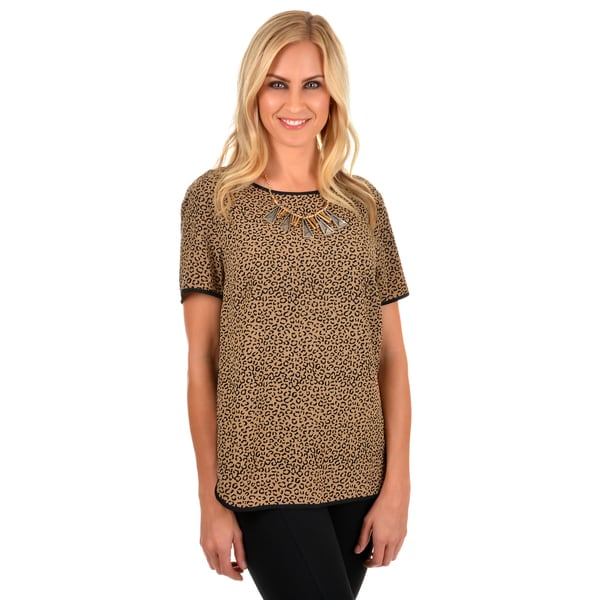 Journee Collection Women's Leopard Print Short-sleeve Top