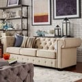 TRIBECCA HOME Knightsbridge Linen Tufted Squared Arm Chesterfield Sofa