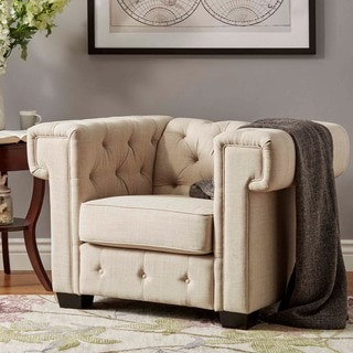 TRIBECCA HOME Knightsbridge Linen Tufted Squared Arm Chesterfield Chair