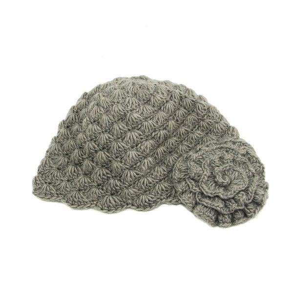 Handwoven Gray Mollie Flower Cloche Hat (Nepal)