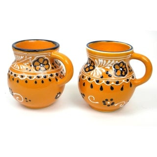 Set of 2 Hand-painted Beaker Cups in Mango - Encantada Pottery (Mexico)