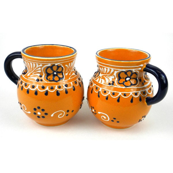 Set of 2 Hand-painted Beaker Cups in Mango - Encantada Pottery (Mexico) 16484466