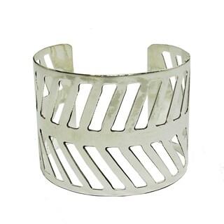 Chevron Path Silvertone Cuff Bracelet (India)