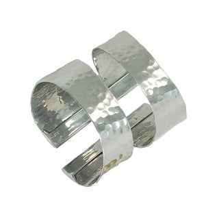 Hammered Swirl Silvertone Cuff Bracelet (India)