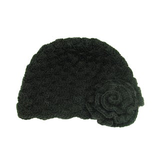 Handwoven Mollie Flower Cloche Hat - Black (Nepal)