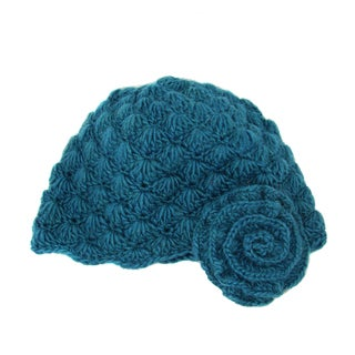 Handwoven Mollie Flower Cloche Hat - Teal (Nepal)
