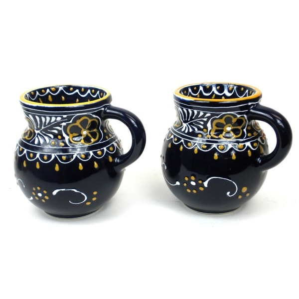Set of 2 Hand-painted Beaker Cups in Blue - Encantada Pottery (Mexico)