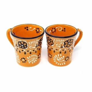 Set of 2 Hand-painted Flared Cups in Mango - Encantada Pottery (Mexico)