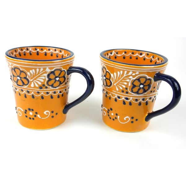 Set of 2 Hand-painted Flared Cups in Mango - Encantada Pottery (Mexico) 16484511