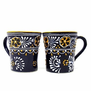 Set of 2 Hand-painted Flared Cups in Blue - Encantada Pottery (Mexico)