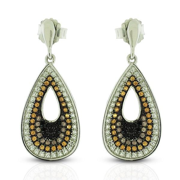 Sterling Silver Multi-Colored Cubic Zirconia Micro Pave Teardrop Earrings