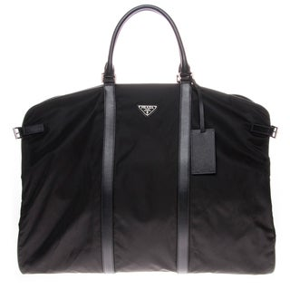 Prada Nylon Garment Bag With Leather Trim