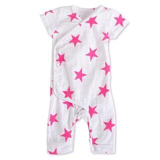 aden + anais Girls 3-6 Months Pink Star Muslin Short-Sleeve Kimono One Piece