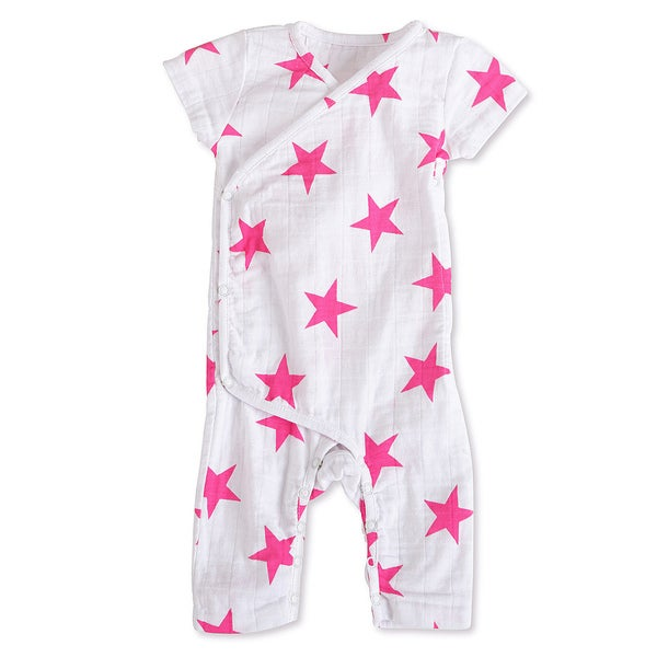 aden + anais Girls 9-12 Months Pink Star Muslin Short-Sleeve Kimono One Piece