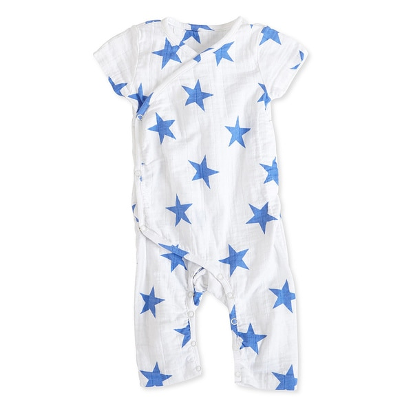 aden + anais Boys 9-12 Months Ultramarine Star Muslin Short-Sleeve Kimono One Piece