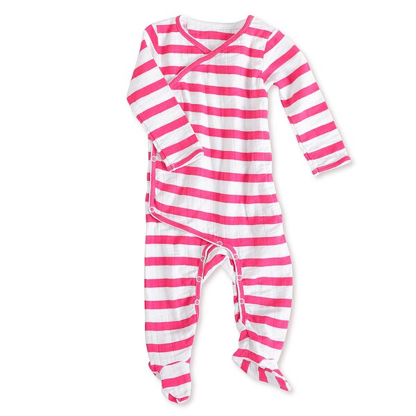 aden + anais Girls 0-3 Months Pink Blazer Stripe Muslin Long-Sleeve Kimono One Piece