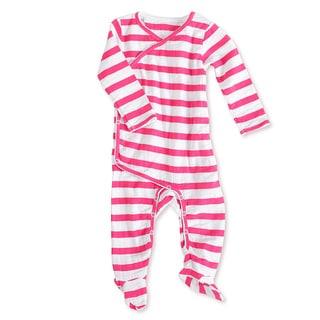 aden + anais Girls 3-6 Months Pink Blazer Stripe Muslin Long-Sleeve Kimono One Piece