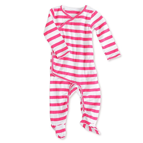 aden + anais Girls 6-9 Months Pink Blazer Stripe Muslin Long-Sleeve Kimono One Piece