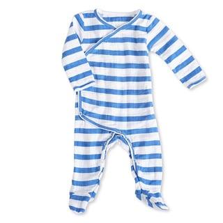 aden + anais Boys 0-3 Months Ultramarine Blazer Stripe Muslin Long-Sleeve Kimono One Piece