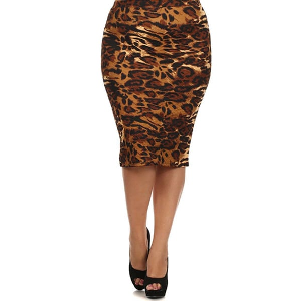 MOA Collection Women's Pencil Skirt with Leopard Print