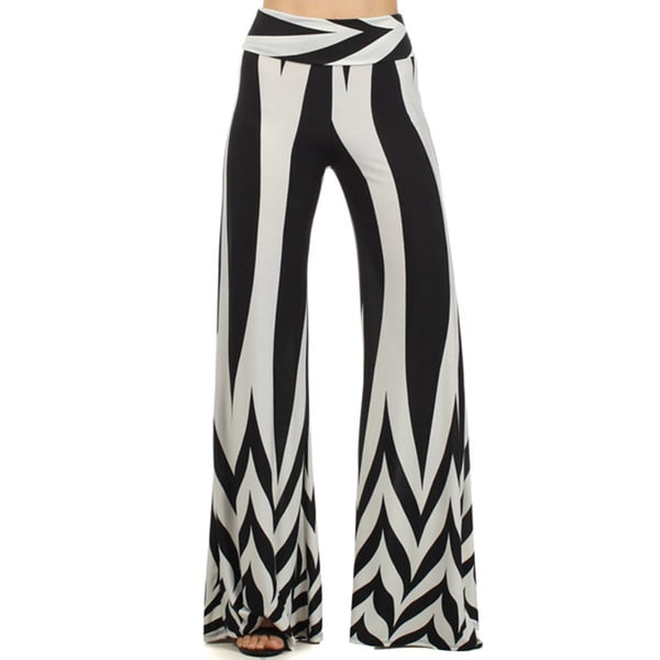 MOA Collection Women's Striped Palazzo Pants